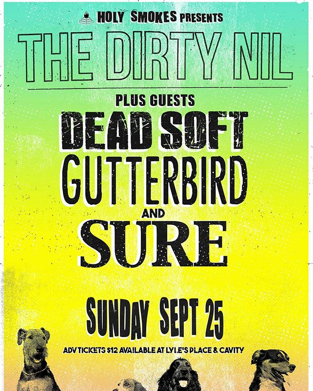 ***THIS SUNDAY*** - - - #yyj #yyjevents #thedirtynil #dinealonerecords #holysmokesmusic #deadsoft #gutterbird #sure #punk #indie #garage #rock #liveshow #party #luckybar #victoria #sunday