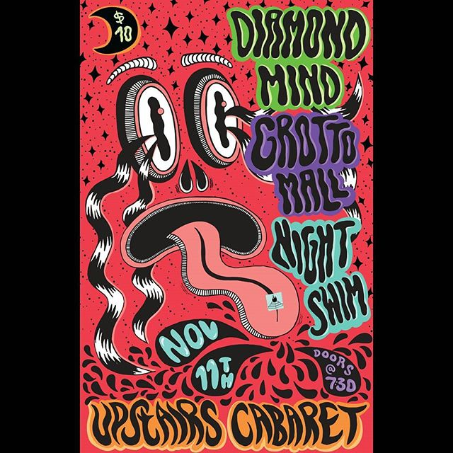 Would you just look at this beautiful poster by the talented @chillivia! Thanks gurl 👌👌 - - - #yyj #yyjmusic #holysmokesmusic #handdrawn #poster #concertposter #upstairs #diamondmind #grottomalls #nightswim #saturday #acid #trippy #freakout #concert #livemusic #art #electronic #indie