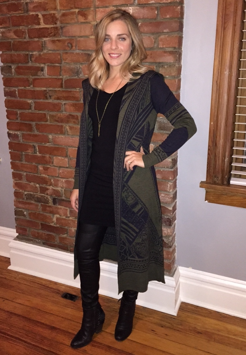 Olive Sweater ($48) Tank Dress ($30) Leather Leggings ($30) Arrow Necklace ($16)