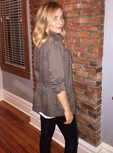 The jacket has a drawstring around the waist for a very flattering fit!
