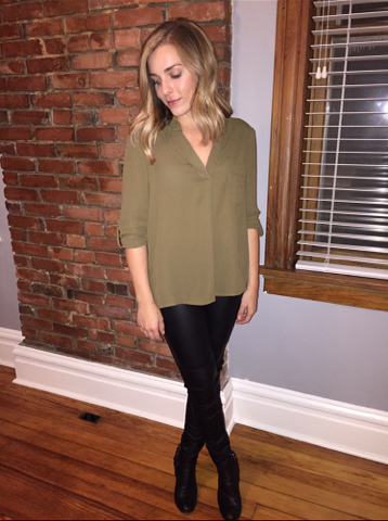 Olive Blouse ($30) Leather Leggings ($30)