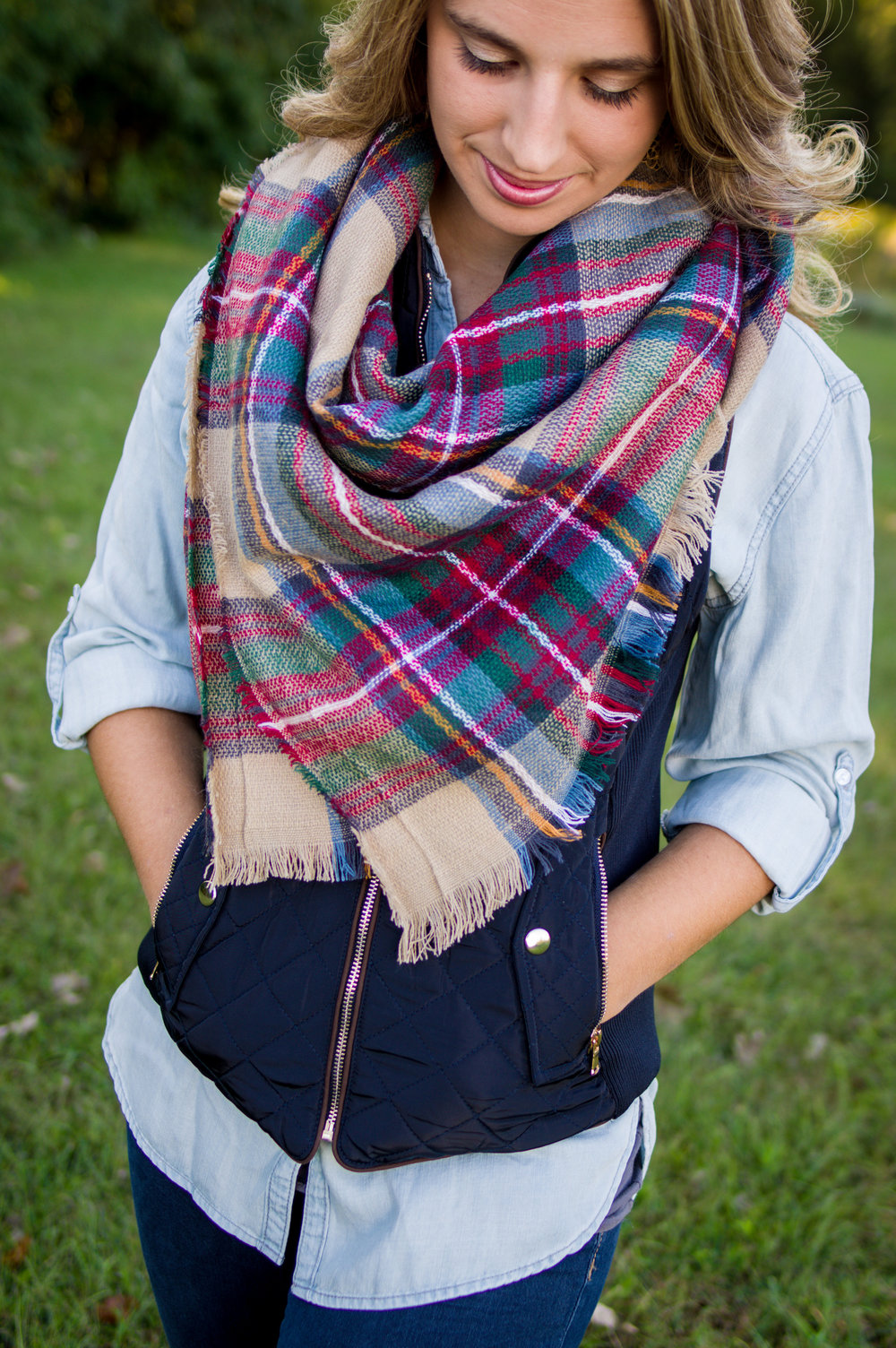 Chambray Shirt ($36) Quilted Vest ($65) Blanket Scarf ($25)