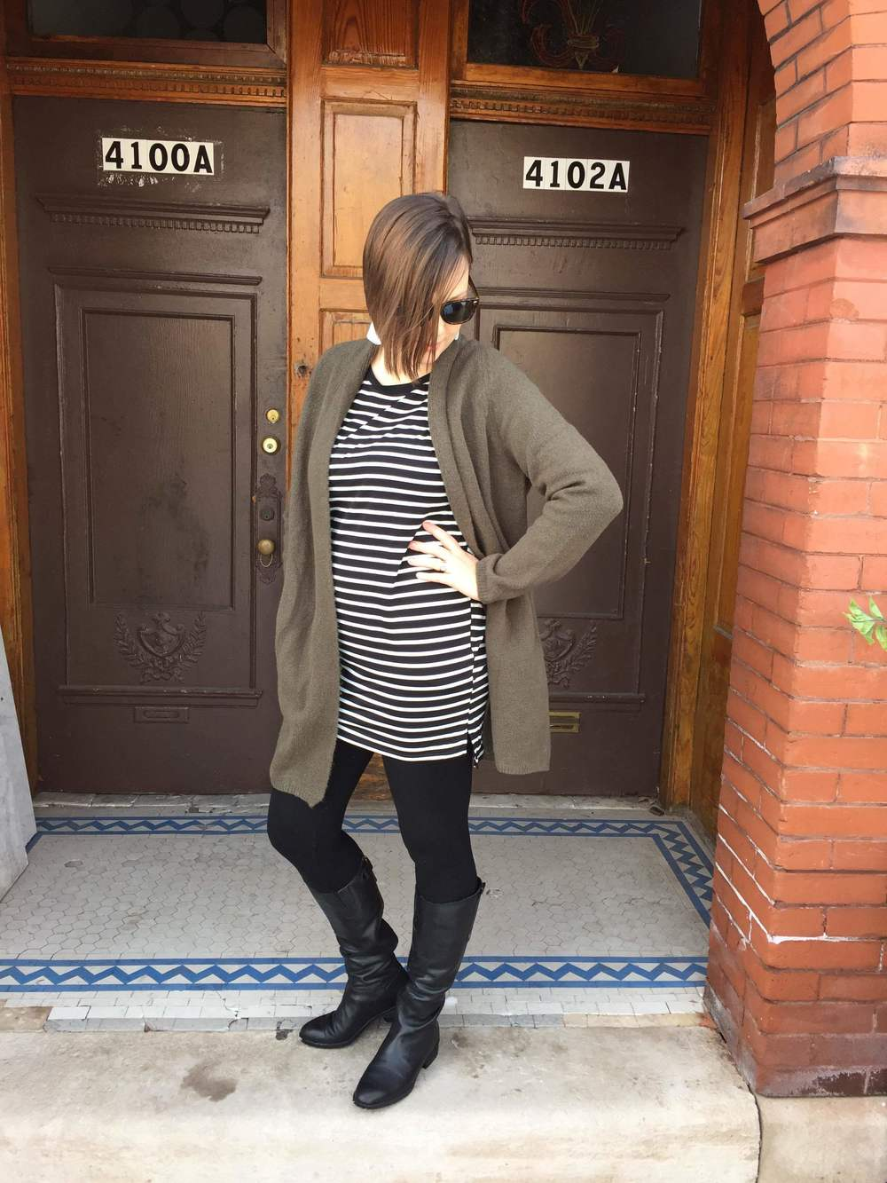 Olive Grandfather Sweater:$40 Stripe Dress: $28 Leggings: $32