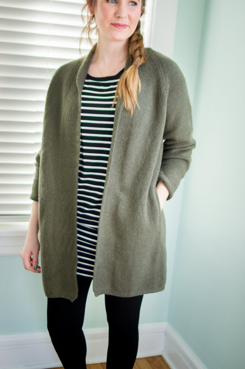 Olive Sweater: $40 Striped Tunic: $28 Leggings: $32