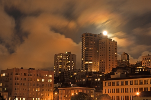Chasing the moon in San Francisco.  The first in a series of classes on the urban landscape at night.