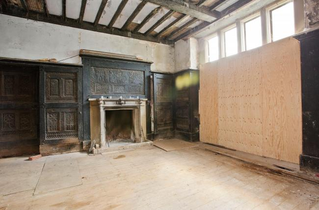 Original oak panelling (prior to restoration) - regarded as one of the best examples of its type in the whole of the UK.