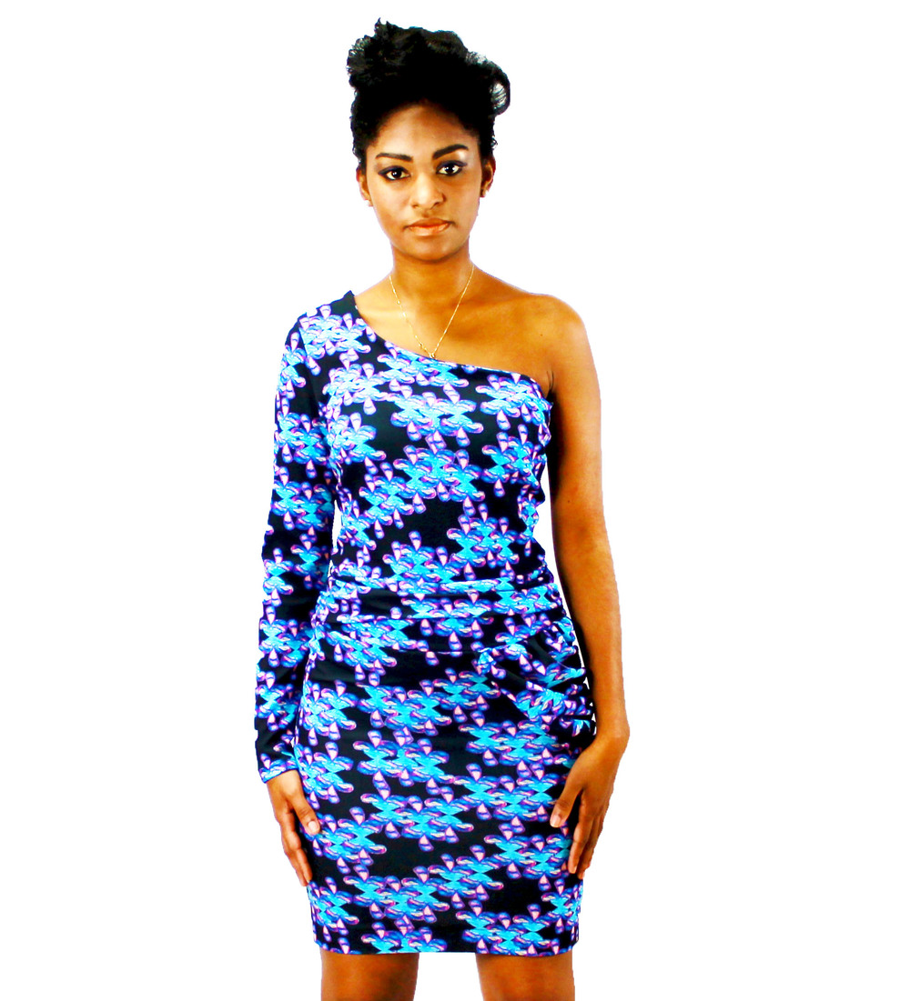 Single Sleeve Looking Eyes Print Dress