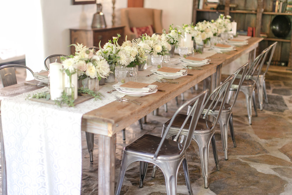 Wood Table and Metal Chairs Reception | Michelle Garibay Events