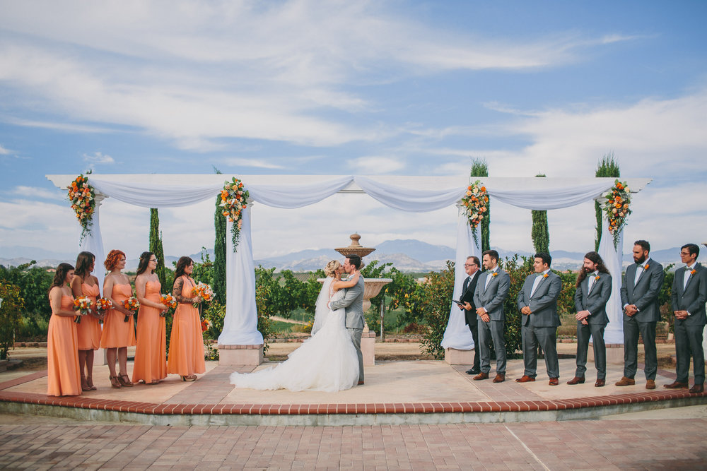 Orange and Gray Bridal Party | Michelle Garibay Events