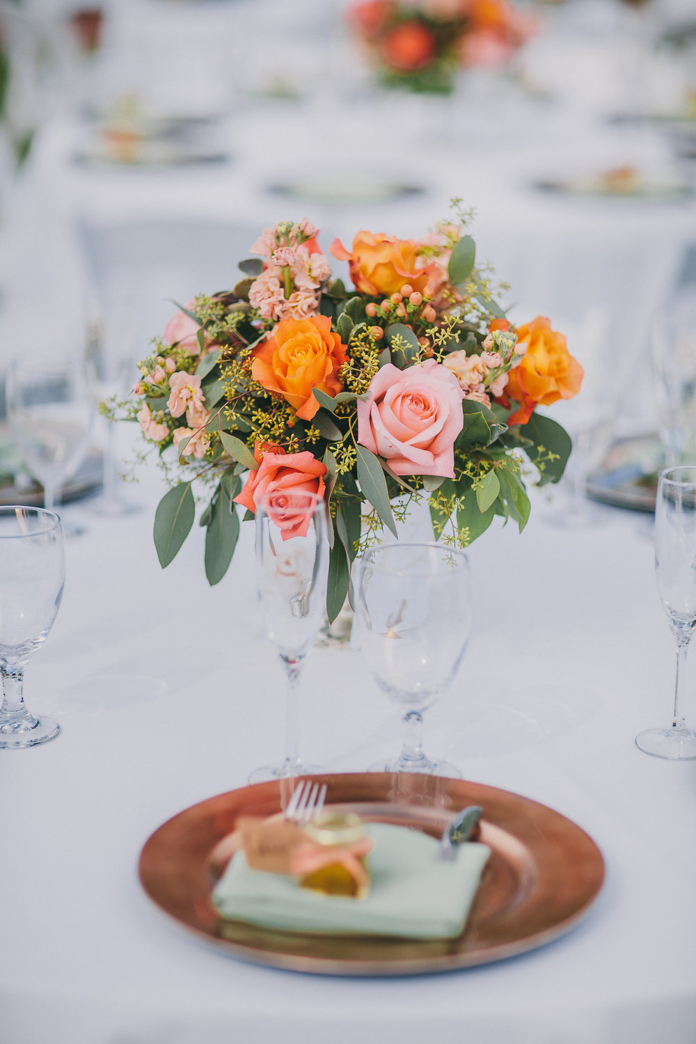 Rustic Orange Centerpiece | Michelle Garibay Events