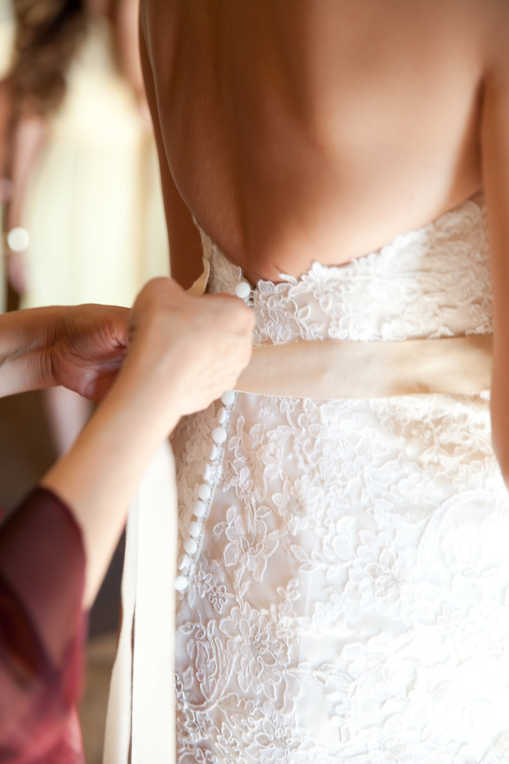Lace Wedding Gown and Beige Sash | Michelle Garibay Events