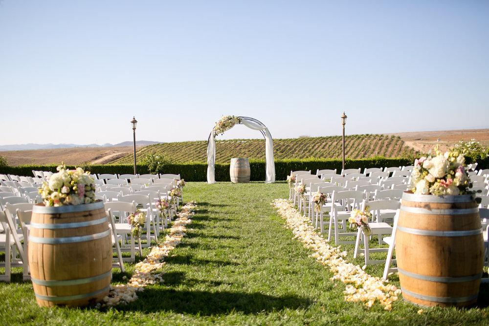 Wine Barrel Ceremony Decor | Michelle Garibay Events