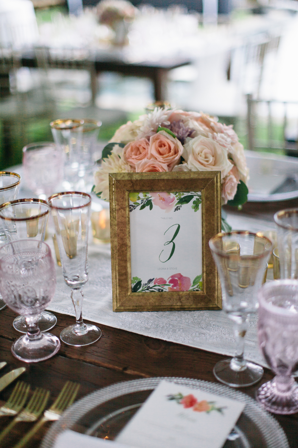 Watercolor Table Numbers | Boho Chic Oahu Beachfront Wedding | Michelle Garibay Events