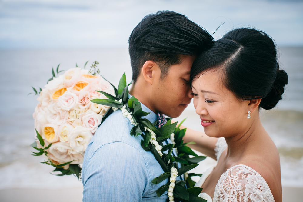 Bride and Groom Romance | Boho Chic Oahu Beachfront Wedding | Michelle Garibay Events