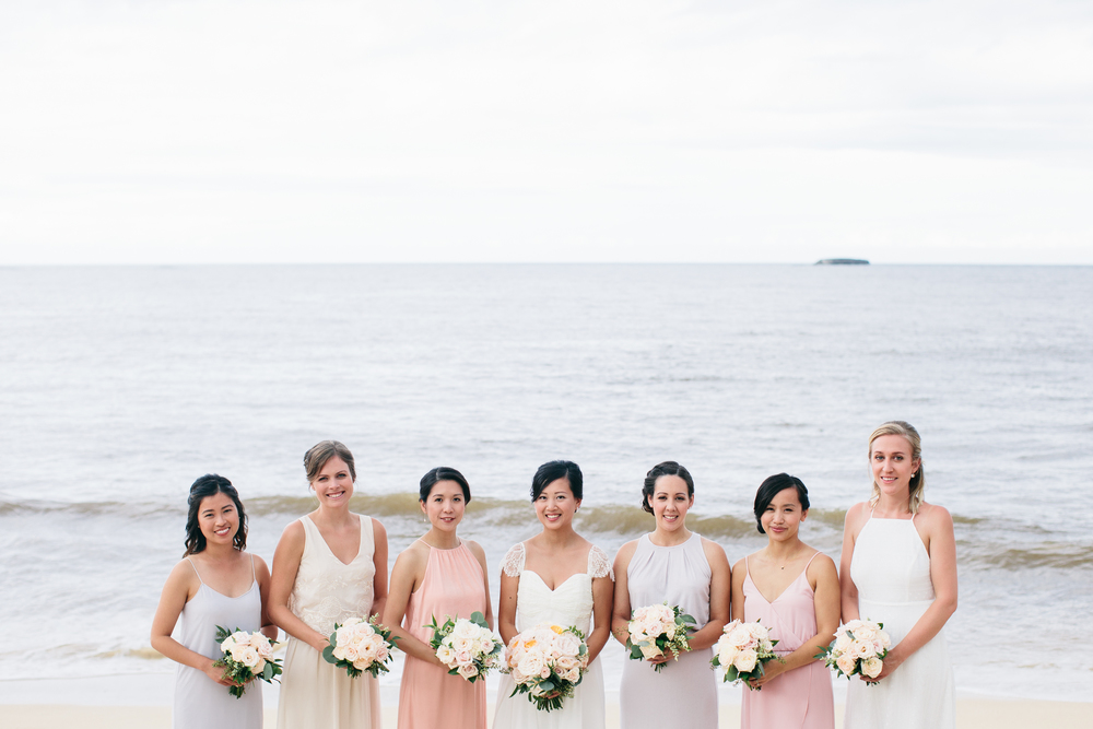Pastel Bridesmaid Dresses | Boho Chic Oahu Beachfront Wedding | Michelle Garibay Events
