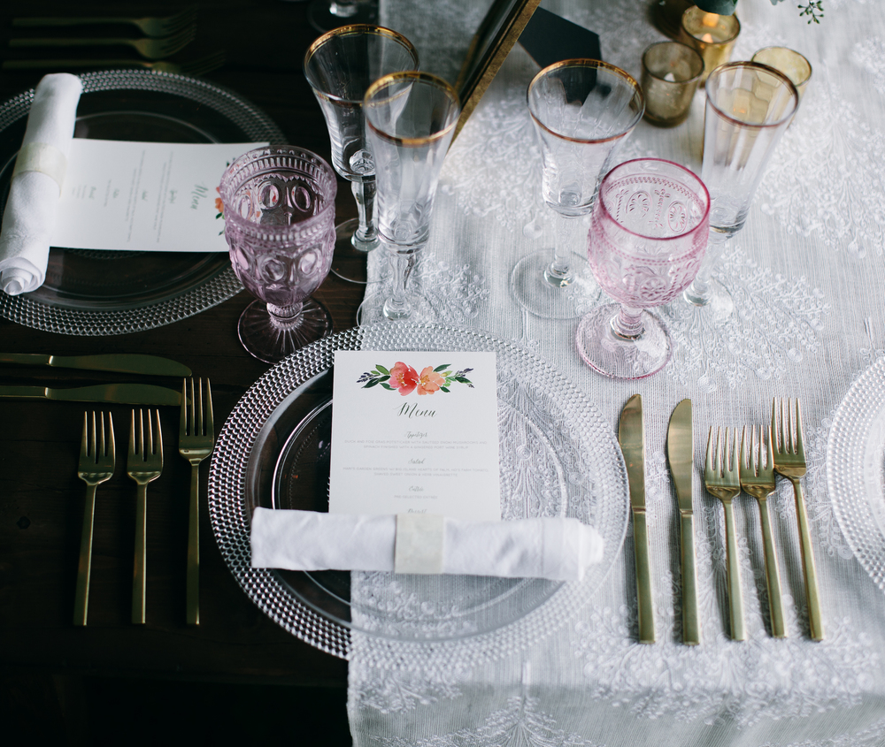 Pink Goblets and Gold Flatware | Boho Chic Oahu Beachfront Wedding | Michelle Garibay Events