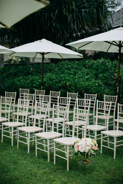 Whitewash Chiavari Chairs | Boho Chic Oahu Beachfront Wedding | Michelle Garibay Events