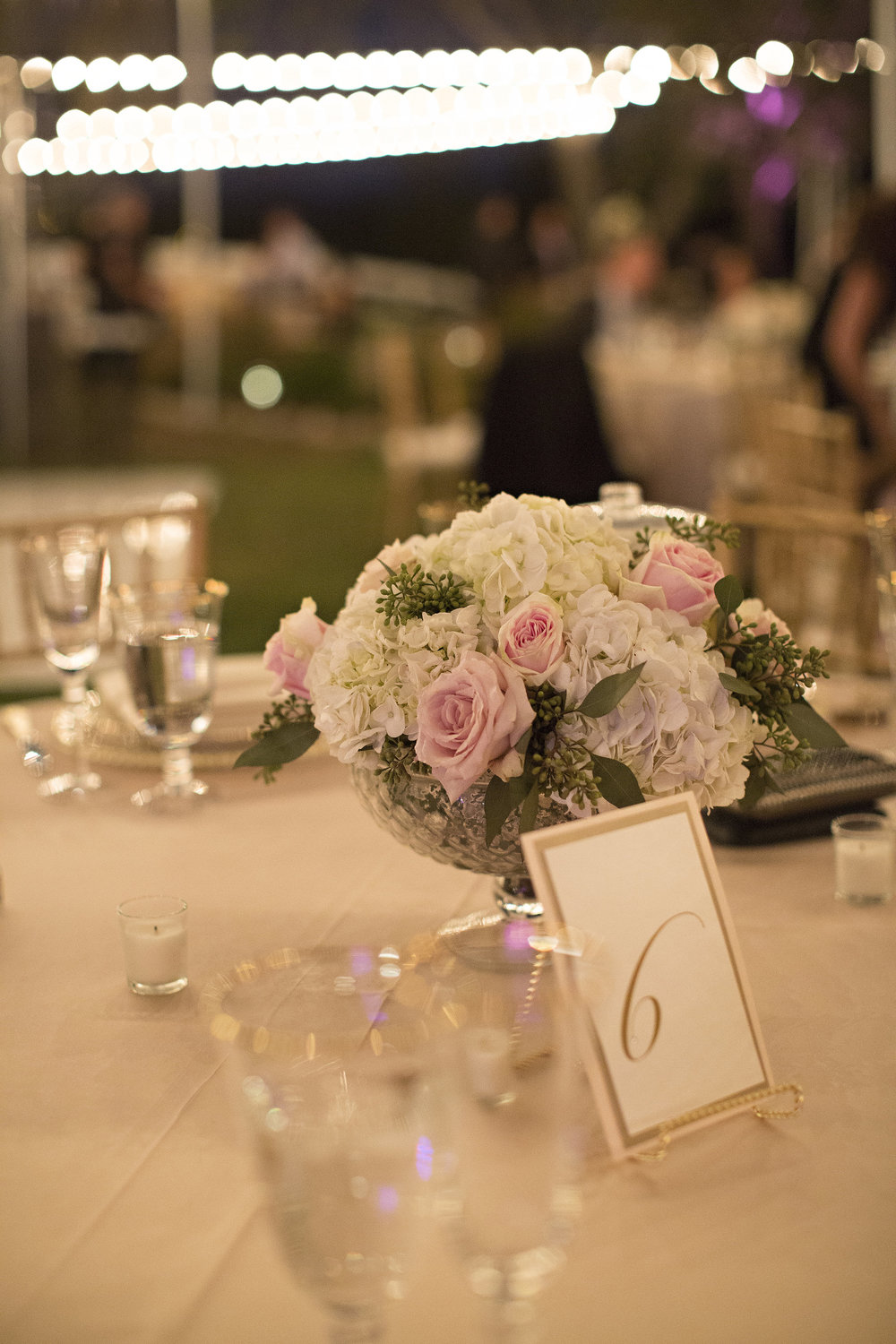 Blush ad White Centerpiece | Temecula Private Estate Wedding | Michelle Garibay Events