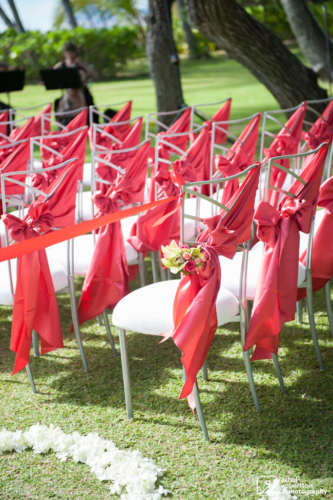 Lanikuhonua Wedding | Oahu Destination Wedding | Hawaii Wedding Planner | Coral Chair Sash