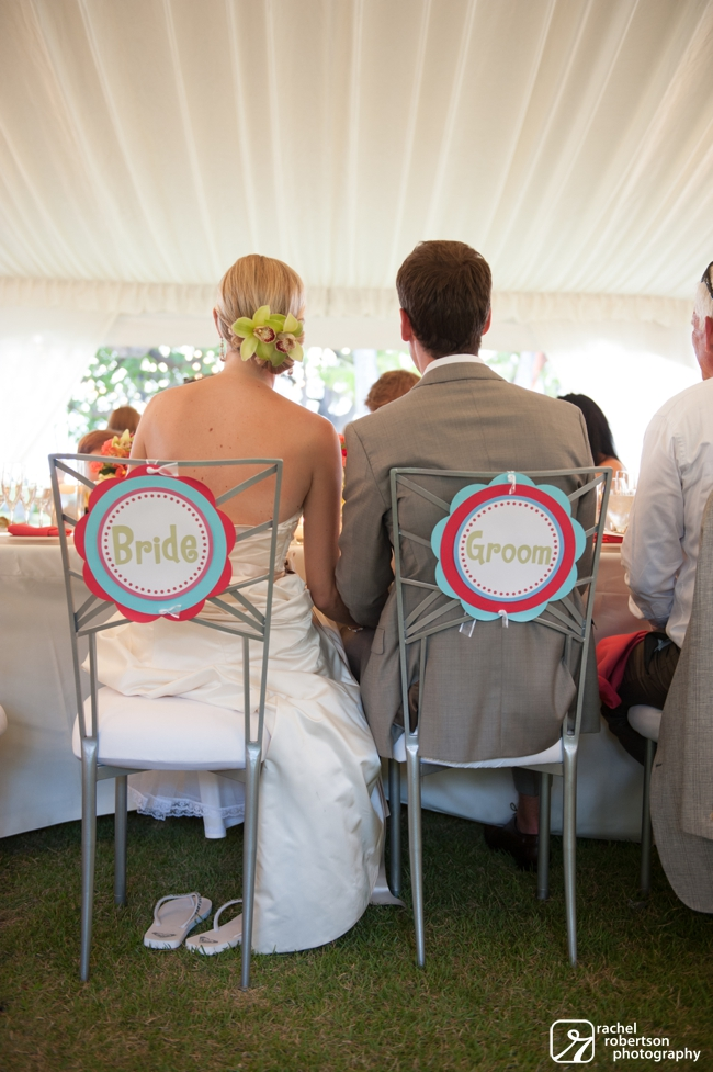 Lanikuhonua Wedding | Oahu Destination Wedding | Hawaii Wedding Planner | Bride and Groom Chair Signs