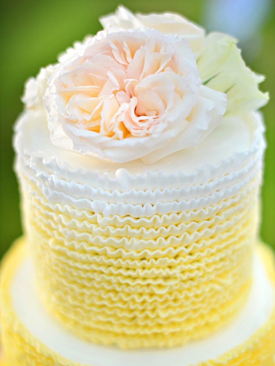 Michelle Garibay Events | Turtle Bay Resort Wedding | Hawaii Destination Wedding Planner | Yellow Ruffle Cake