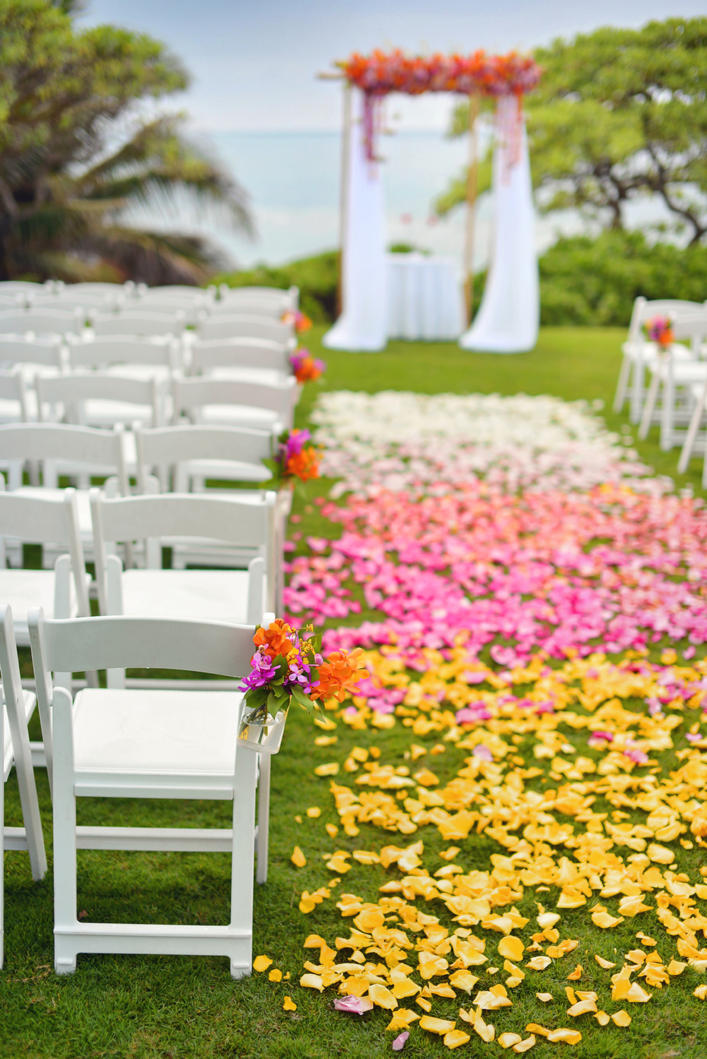 Michelle Garibay Events | Turtle Bay Resort Wedding | Hawaii Destination Wedding Planner | Ombre Aisle Decor