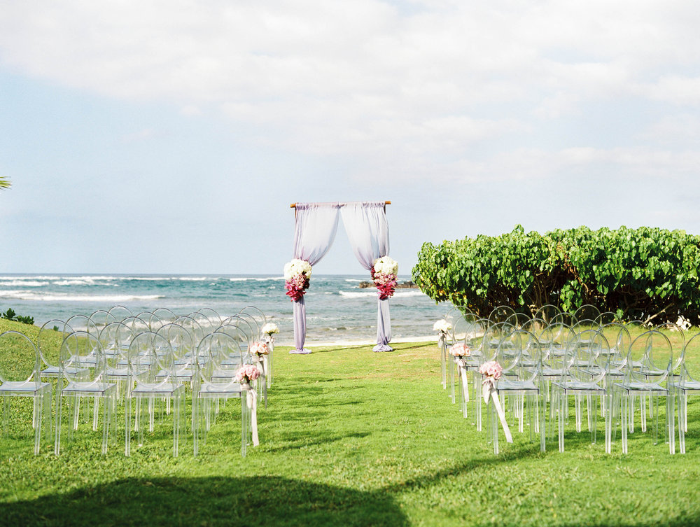 Michelle Garibay Events | Elegant Oahu Wedding | Loulu Palm Estate | Purple Ceremony Decor