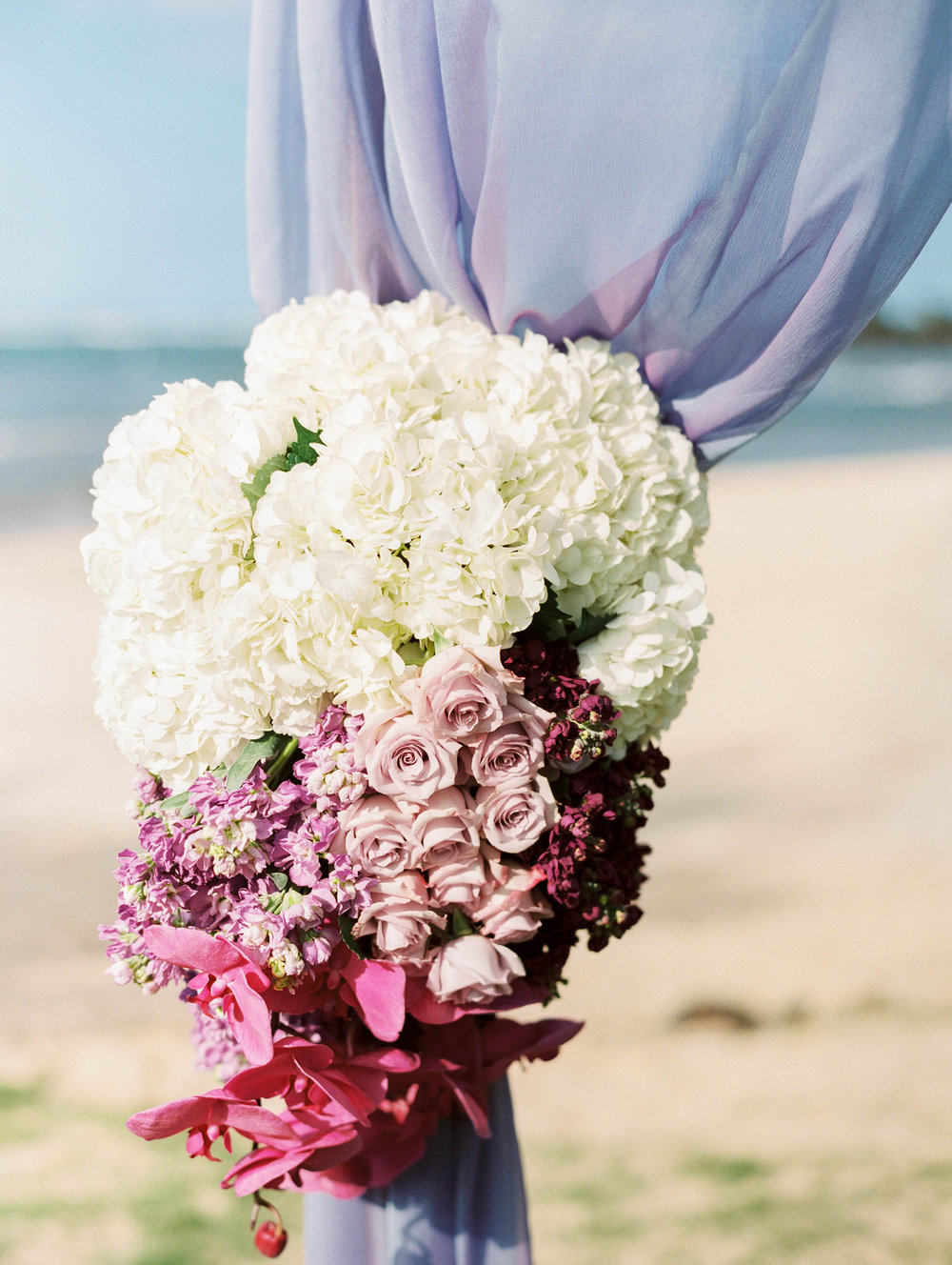 Michelle Garibay Events | Elegant Oahu Wedding | Loulu Palm Estate | Purple Ombre Ceremony Decor