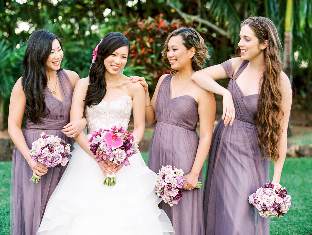 Michelle Garibay Events | Elegant Oahu Wedding | Loulu Palm Estate | Purple Bridesmaid Dresses