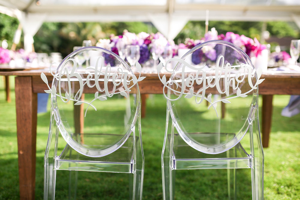 Michelle Garibay Events | Elegant Oahu Wedding | Loulu Palm Estate | Destination Wedding Planner | Bride and Groom Chair Signs