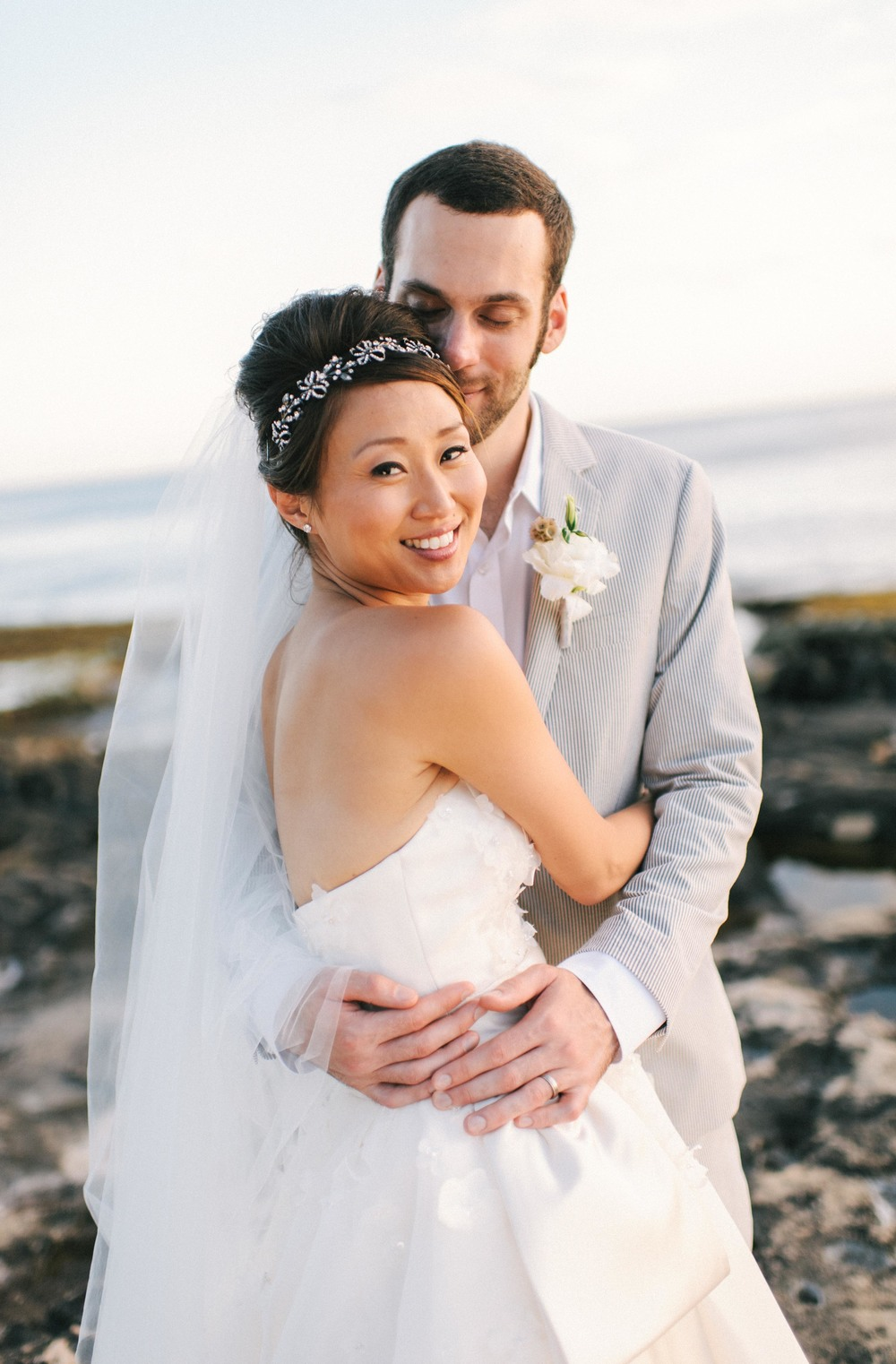 Michelle Garibay Events | Modern Vintage Hawaii Wedding | Oahu Destination Wedding | Peach and Gray Wedding | Sunset Beach Wedding
