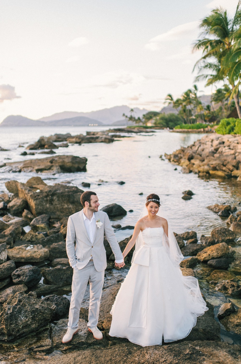 Michelle Garibay Events | Modern Vintage Hawaii Wedding | Oahu Destination Wedding | Peach and Gray Wedding | Lanikuhonua Beach Sunset