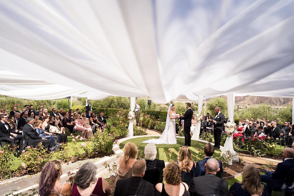 Brian Leahy Photo | Michelle Garibay Events | Luxury Temecula Wedding | La La Land Purple Wedding | Hollywood Glam Wedding | Fabric Canopy Ceremony