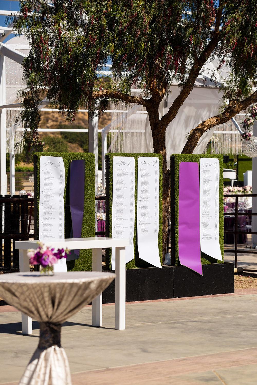Brian Leahy Photo | Michelle Garibay Events | Luxury Temecula Wedding | La La Land Purple Wedding | Hollywood Glam Wedding | Hedge Wall Seating Chart