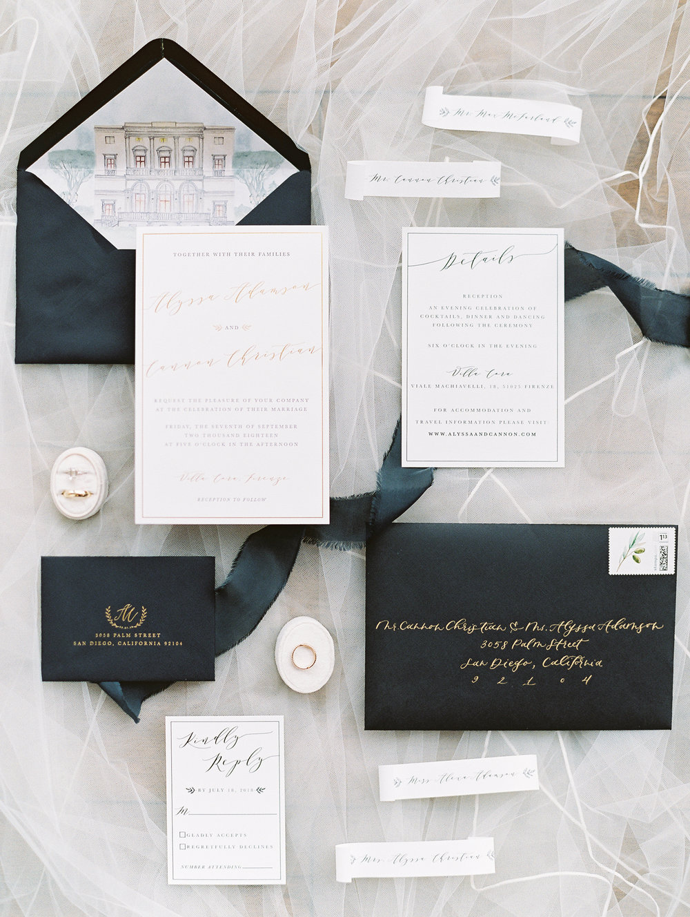 Michelle Garibay Events | Cavin Elizabeth Photography | Elegant Black, White and Gold Wedding | Custom Illustrated Envelope Liner