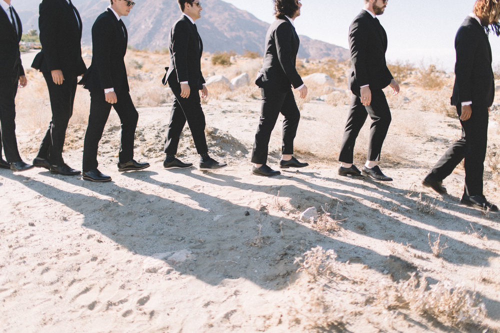 Michelle Garibay Events | Jenavieve Belair | Avalon Palm Springs | Modern Style Meets Farm-to-Table in Fig, Peach and Dusty Mauve | Groomsman Desert Photos