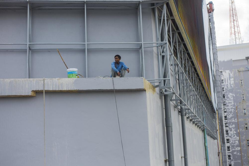Man on a ledge.
