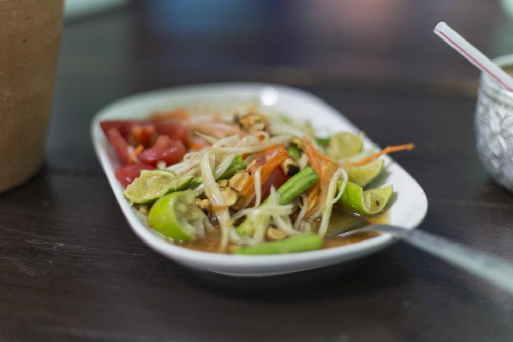Papaya salad. Vegan, sweet, peanutty, spicy, refreshing in this heat.