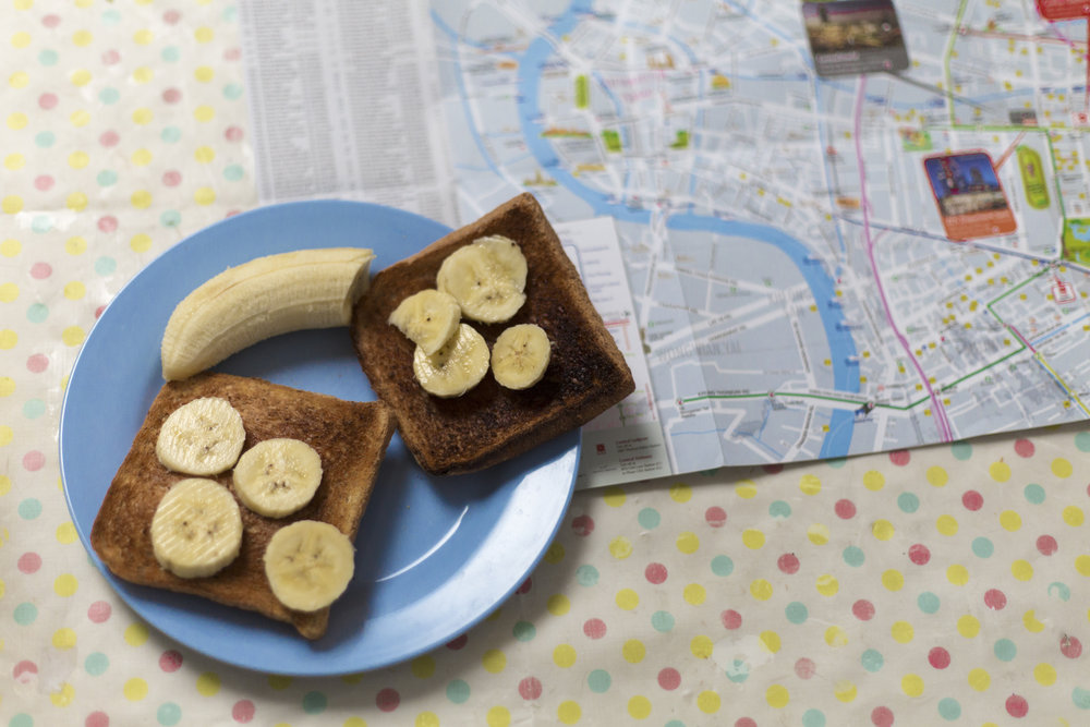 Cold banana on hot oiled toast is an oddly refreshing Vegan breakfast.