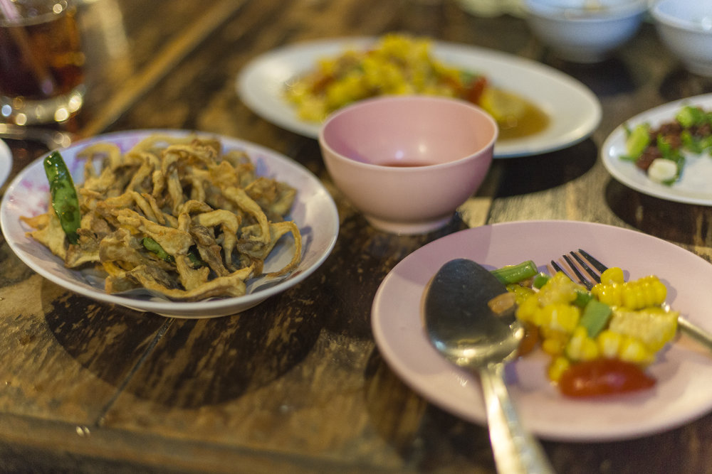 My first Fried Mushroom and corn salad experience with Goy & Ning.
