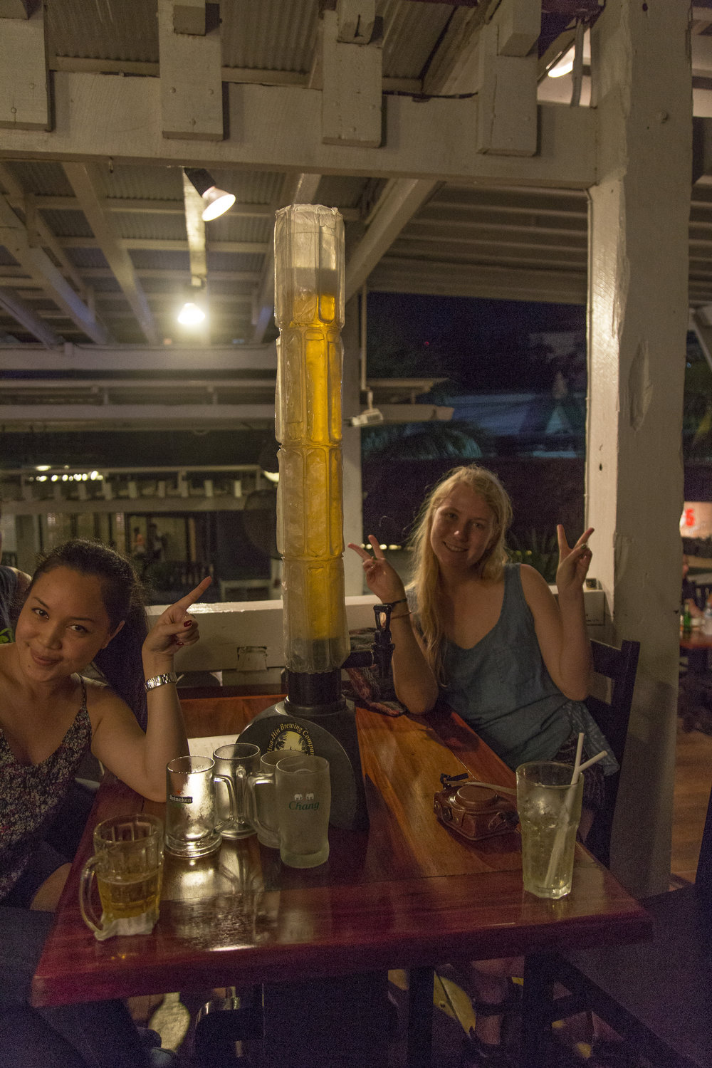 Night cap with beer towers! Goy and Edie.