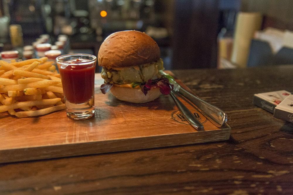 Vegan potato burger with the best fries and bun!