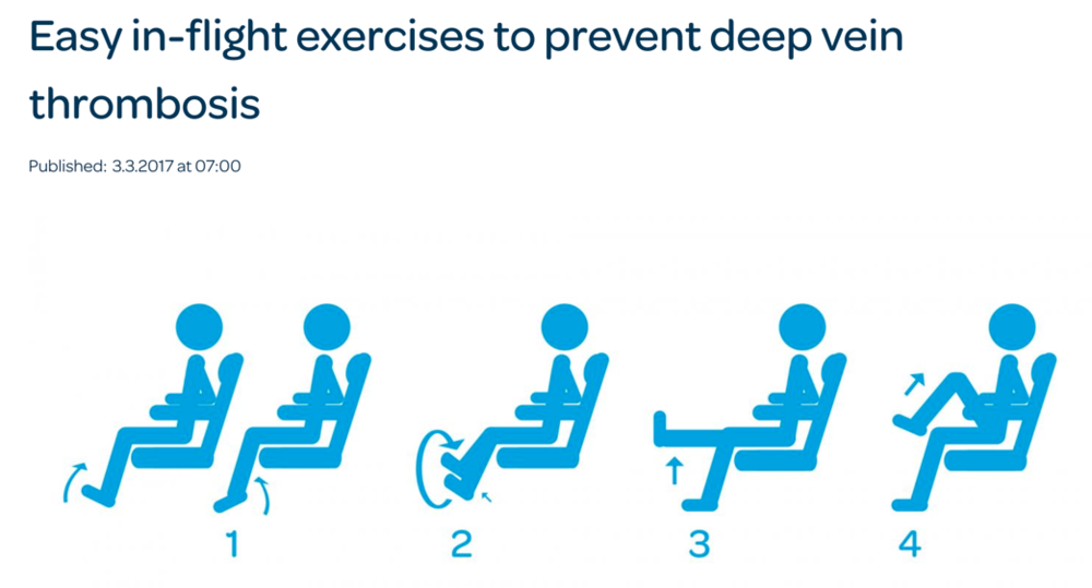 Check out this FINAVIA airline website for more information on in-seat exercises to avoid DVT. There are also many good flight tips.
