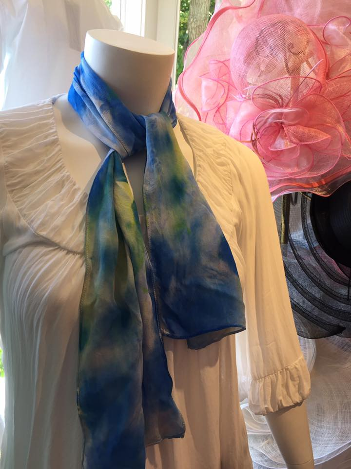Hand painted scarf available at Stitch Southampton