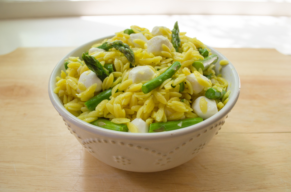 orzo with asparagus lemon and mozzarella