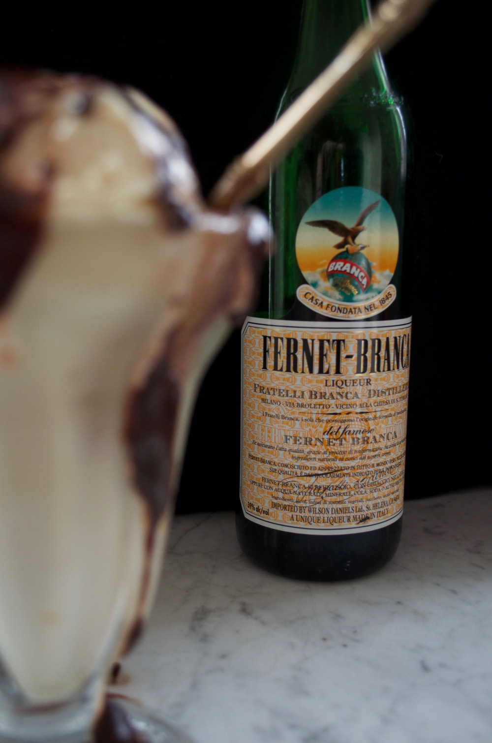 Fernet Branca hot fudge sundae