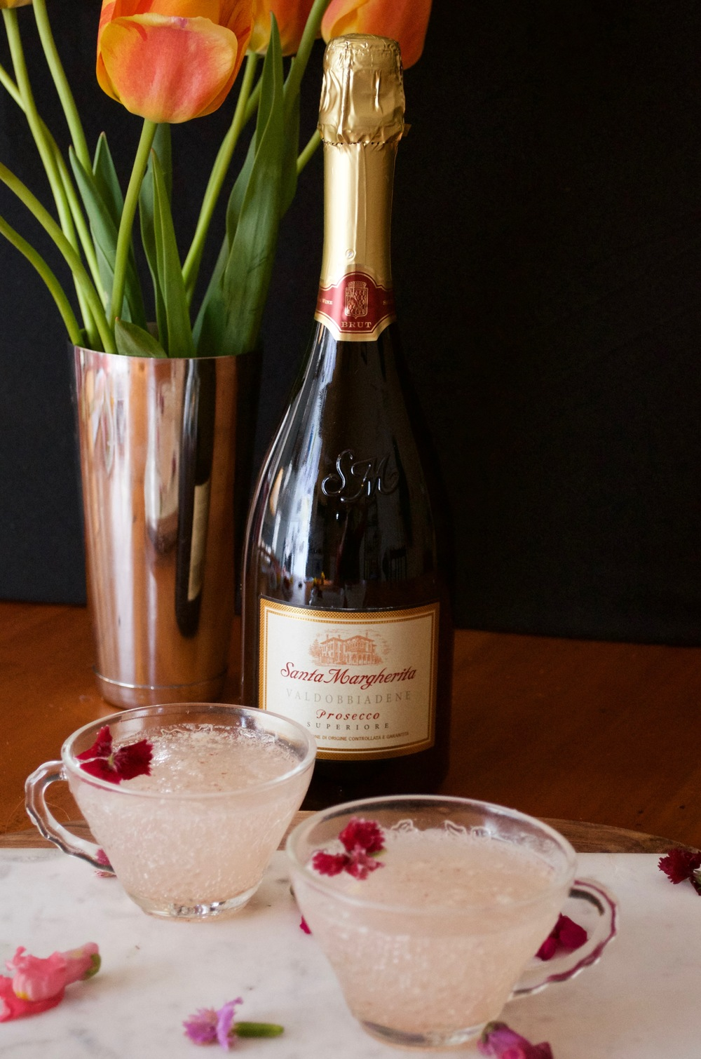 rhubarb-apple-brown butter sparkling cocktail