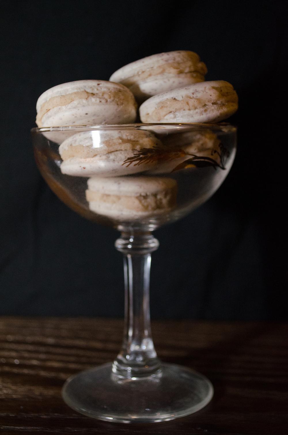 aquafaba bourbon macarons