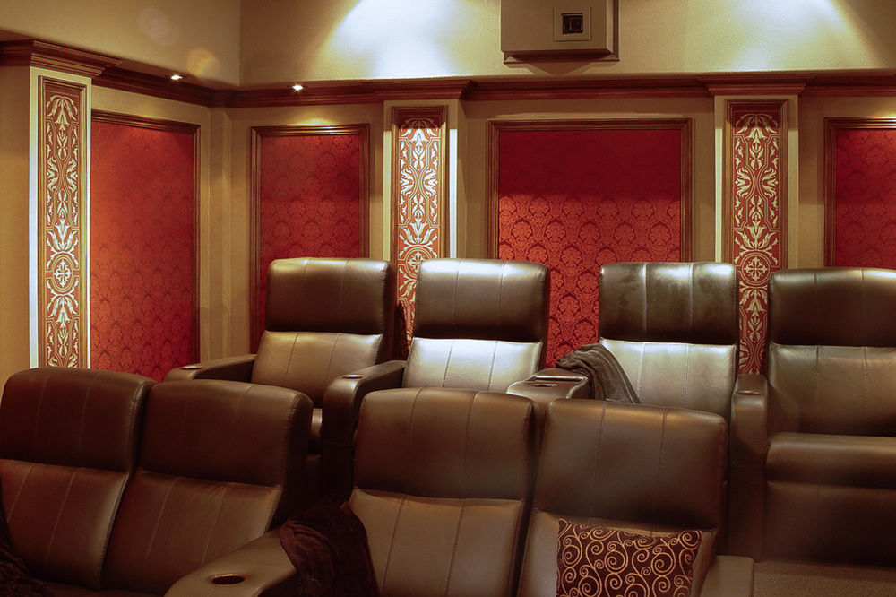 Home theater with hidden speake  rs on Lake Dallas