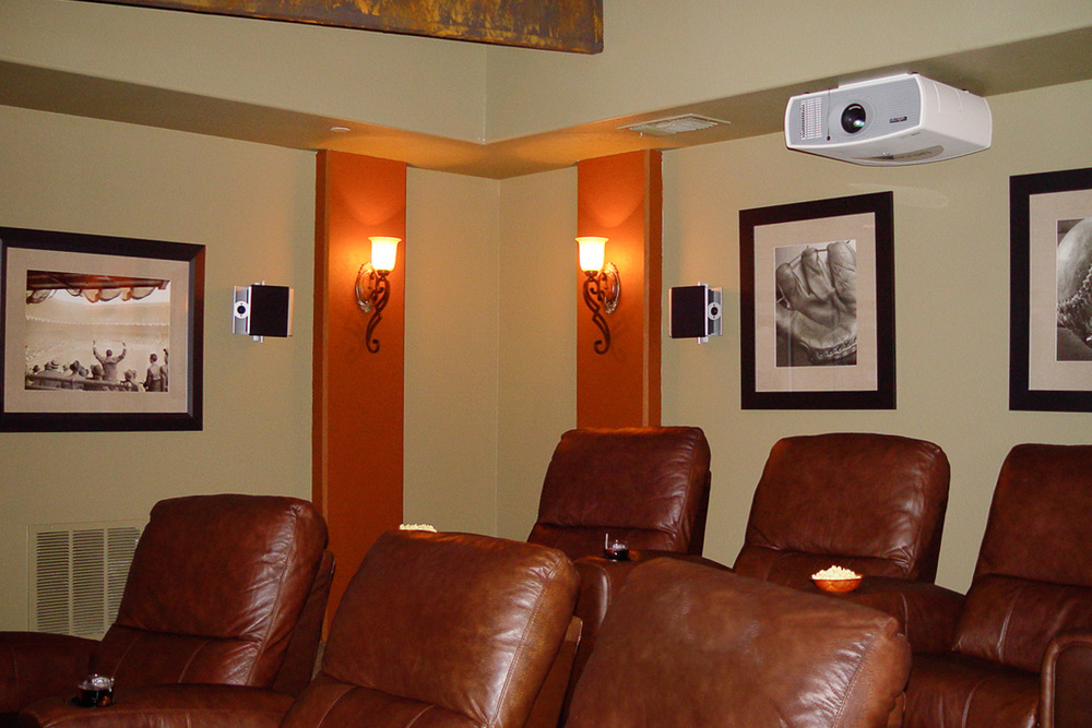 Texas Rangers-themed home theater in Frisco